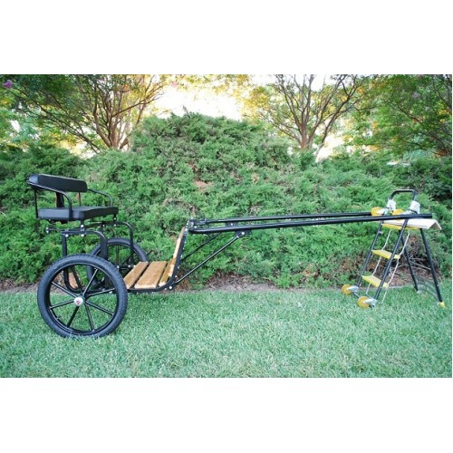 "EZ Entry Horse Cart-Pony Size Hardwood Floor with 55""/60"" Straight Shafts w/18"" Motorcycle Tires"