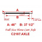 """Full Size Horse Cart Axle With 3/4"""" Axle, 3 3/8"""" Hub"""