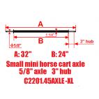 """New Small Mini Size Horse Cart Extra Long Axle 5/8"""" Axle, 3 3/8"""" Hub"""