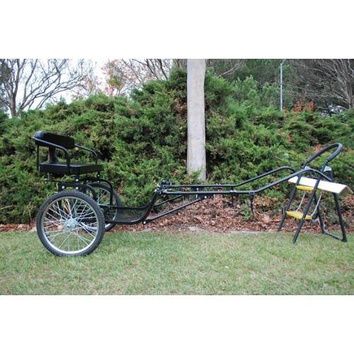 "Easy Entry Horse Cart-Mini Size Metal Floor w/53"" Curved Shafts w/20"" Heavy Duty Bike Wheels"