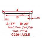 "Mini Size Horse Cart Axle 5/8"" Axle, 3 3/8"" Hub"