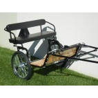 "Easy Entry Horse Cart- Mini Size Hardwood Floor w/53"" Curved Shafts w/20"" Heavy Duty Bike Wheels"