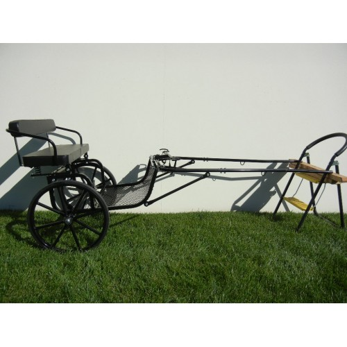 "Easy Entry Small Mini Horse Cart Metal Floor w/45"" Shafts w/21"" Solid Rubber Tires"