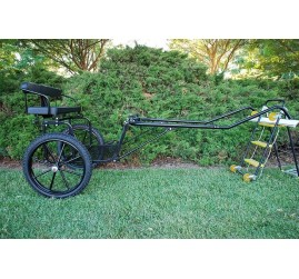 "EZ Entry Horse Cart-Pony/Full Size Metal Floor with 69""/80"" Curved Shafts w/21"" Motorcycle Tires"