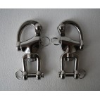 "Pair of 5"" large 316 stainless steel snap shackles with safety closures"