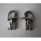 """Pair of 3 1/2"""" small 316 stainless steel snap shackles with safety closures"""