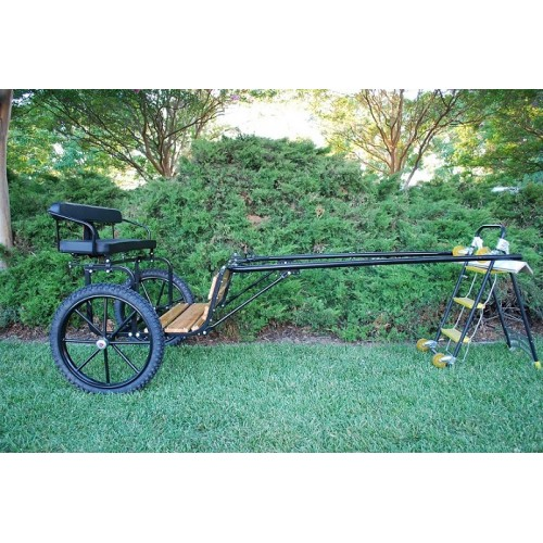 "EZ Entry Horse Cart-Pony Size Hardwood Floor with 55""/60"" Straight Shafts w/21"" Motorcycle Tires"