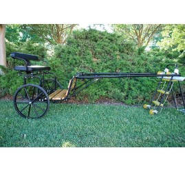 "EZ Entry Horse Cart-Pony Size Hardwood Floor with 55""/60"" Straight Shafts w/24"" Solid Rubber Tires"