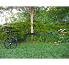 """EZ Entry Horse Cart-Pony/Full Size Metal Floor with 69""""/80"""" Curved Shafts w/27"""" Solid Rubber Tires"""