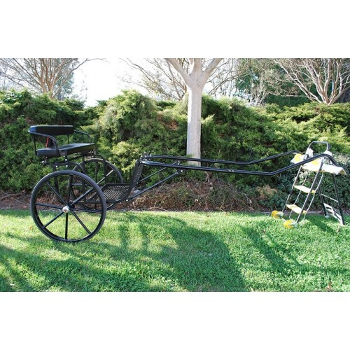 """EZ Entry Horse Cart-Pony/Full Size Metal Floor with 69""""-80"""" Curved Shafts w/30"""" Solid Rubber Tires"""