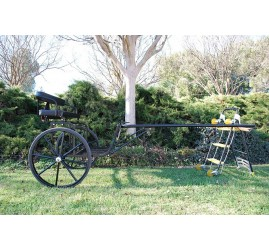 """EZ Entry Horse Cart-Pony/Cob Size Metal Floor with 60""""/72"""" Straight Shafts w/30"""" Solid Rubber Tires"""
