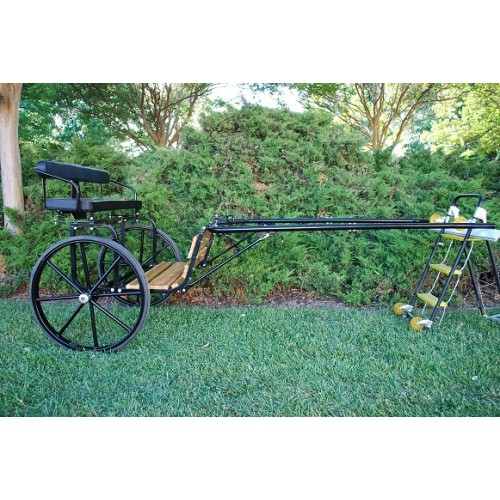 "EZ Entry Horse Cart-Pony/Cob Size Hardwood Floor with 60""/72"" Straight Shafts w/30"" Solid Rubber Tires"